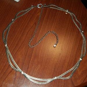 Silver tone rhinestone accent necklace fashion